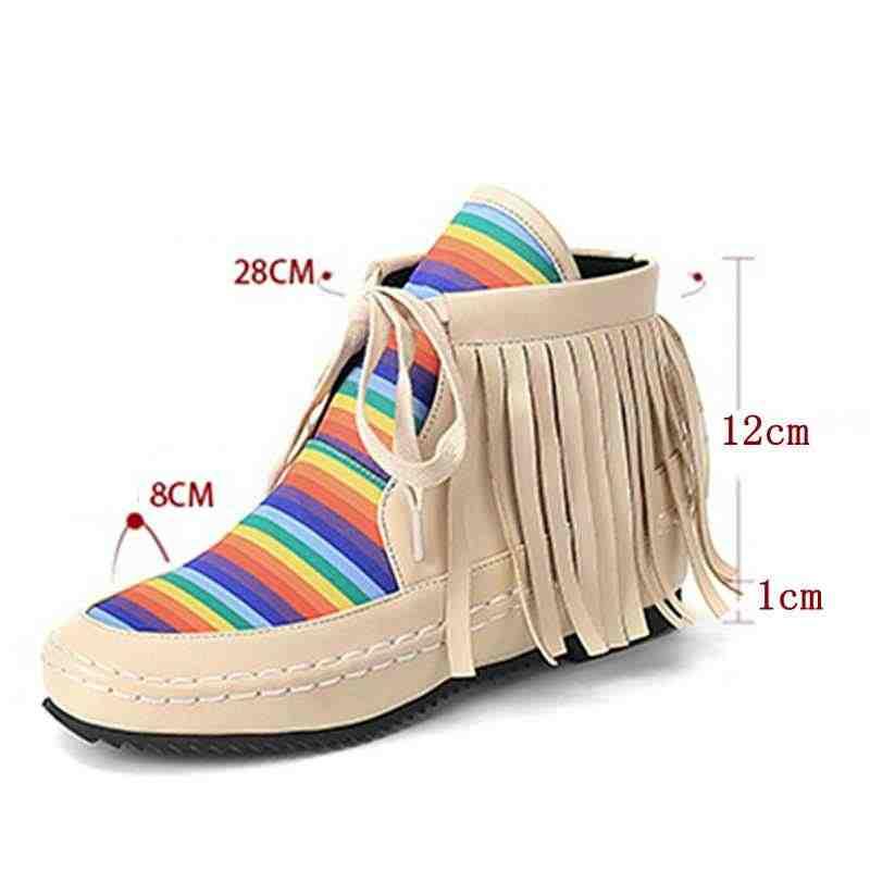 REAVE KEDI Sonbahar Kış Kadın yarım çizmeler Ayakkabı kadın düz çizmeler Yuvarlak Ayak mujer Püskül çizmeler renkli Çizgili Botas A1344