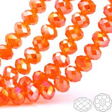 купить OlingArt 3/4/6/8/10mm Round Glass Beads Rondelle Austria faceted crystal Orange AB color Loose bead 5040 DIY Jewelry Making недорого