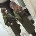 Wool Coat Girl Blends Parkas New Women's 2017 Spring Trench Saches Autumn Winter  Female Overcoat With Belt Army Green Long