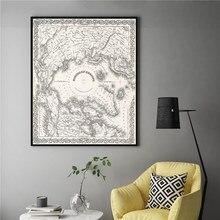 1855 Colton Retro Ártico mapa Vintage Color lienzo Adhesivo de pared textura delicada aprendizaje educación impresión para decoración del hogar Póster