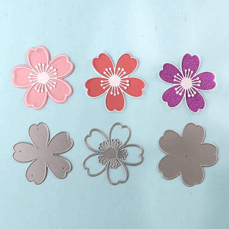 12 Pcs Mini Scrapbook Craft Paper Crad Punch Flower Cutters Handheld Stencil