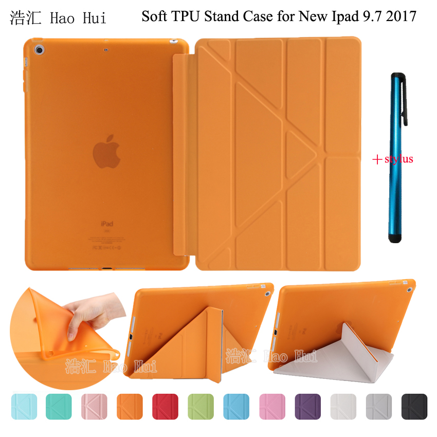 For New Ipad 9.7 2017 Retina Smart TPU Back Cover Case PU Leather Flip Stand Magnetic Wake Up Sleep Soft back + One Stylus for ipad air2 case pu leather smart wake up sleep solid pc back cover magnetic flip stand origimi brand aiyopeen with gift