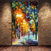 Handmade Streetscape Paintings Pictures Large Wall Art Handpainted Abstract Knife Tree Scenery Landscape Oil Painting On