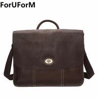 Genuine Leather Man Fashion Briefcase High Quality Business Shoulder Bag Casual Travel Handbag Luxury Brand Laptop