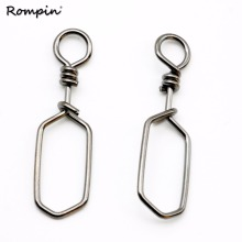 Rompin 50pcs/bag Square fishing snaps Stainless Steel fishing Swivels Interlock Snap Fishing Accessories Fishing Tackles