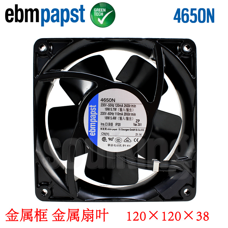 New Original EBM PAPST 4650N 4656N 4650N-465 AC230V 120/110mA 19/18W 120*120*38MM Full Metal Cooling fan new original german ebm papst rl90 18 56 ac220v 20w centrifugal blower cooling fan