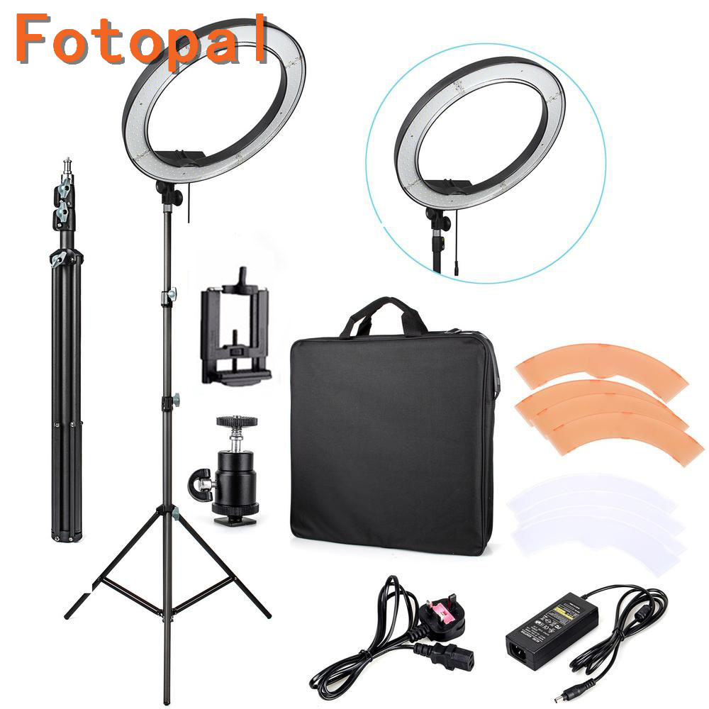 Fotopal Dimmable 240 LED Studio Camera Ring Light Photo Phone Video Light Annular Lamp With Tripods