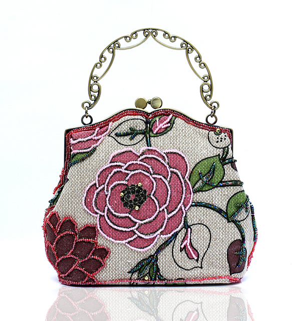 New Pink-Red Banquet Handbag Party Bridal Evening Bag Chinese Womens Linen Beaded Clutch Mini Totes Makeup Bag Bolso 22005-1