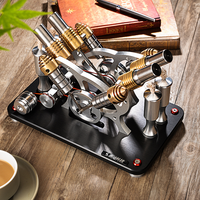 2018 Metal Stirling Engine V4 Four Cylinder / Two Low Temperature Micro Generator Set Education Puzzle Collection Hobby Gift