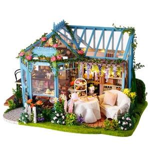 Miniaturowe ogród różany herbata ciasto sklep meble dla lalek domek dla lalek zestaw drewniane Puzzle Model DIY muzyki lalki dom światła Led prezent na Boże Narodzenie
