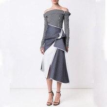 AEL, высокое качество, женская одежда, белый и серый стиль, новинка, Повседневная мода, нестандартная длинная юбка с подолом, разные, интересные