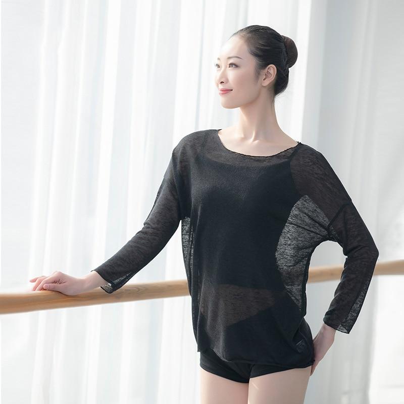 Dance Ballet T Shirt Adult Dancewear Sheer Long Sleeve Dance Tops For Practice Women T Shirt Jazz Dance Lyrical Tops Yoga Shirt