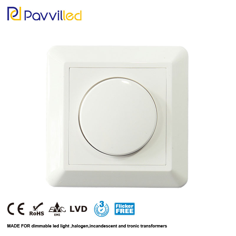 CE Approved 300W Trailing Edge LED Dimmer Switch Phase Cut/off Bottom Brightness Adjustable With Knob 100-240Vac