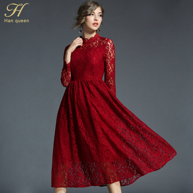 H han queen 2018 Spring Summer Women s Evening Party Lace Dresses Hollow  Out Sexy Slim Long Vestido Business Office Casual Dress 4f5d9a81a