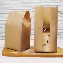 50 Pcs/set Kraft Paper Bread Packing Bag Baking Toast Takeaway Food Package Cake Wedding Party Decor