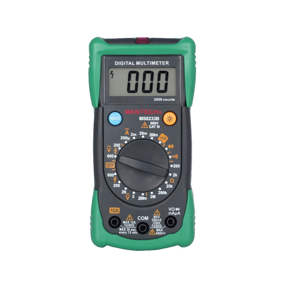 MASTECH MS8233B Digital Multimeters AC/DC Voltage DC Current Resistance Tester w/ LCD Backlight
