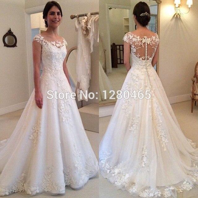 Cap maniche di pizzo appliques da sposa abito da sposa illusion indietro con  bottoni abiti da 13f6852edb6