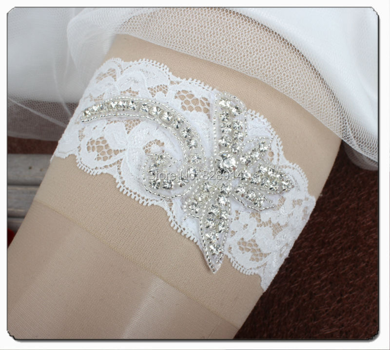 Original Design White Lace Bridal Garter Made of Rhinestoens Beaded Applique and Stretched Lace Trim Handmade