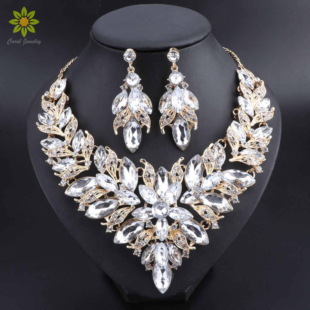 高級花インドのブライダルジュエリーセットウェディングコスチュームゴールドカラーのネックレスイヤリングセットクリスタルセットジュエリー花嫁のための女性
