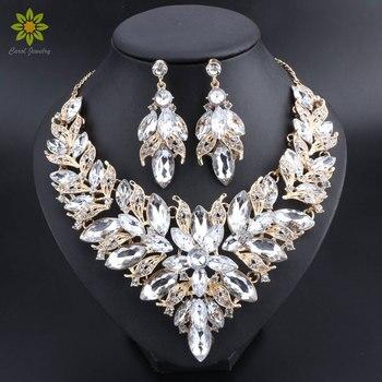 77b94f7c103b Flor de lujo joyería nupcial india establece traje de boda oro collar de  Color pendientes conjunto cristal joyas para novias
