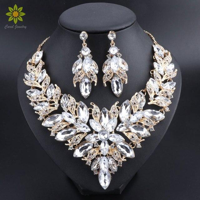 c0ee85bb1ce8 Flor de lujo joyería nupcial india establece traje boda oro collar Color  pendientes conjunto cristal joyas para novias
