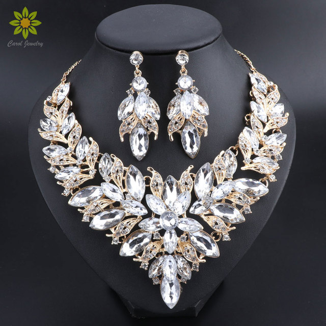 0dcf15daf96 Luxury Flower Indian Bridal Jewelry Sets Wedding Costume Gold Color  Necklace Earrings Set Crystal Set Jewellery for Brides Women