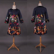 Plus Size 2XL Winter Fashion Women s Elegant Vintage Coat Retro Runway Character Printed Quality Warm