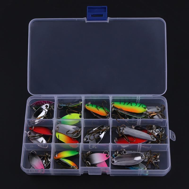 30Pcs/Box Mixed Fishing Lures Zinc Alloy Fishing Casting Spinner Baits Spoon Lures Treble Hooks Fishing Tackle Tool Kit peche