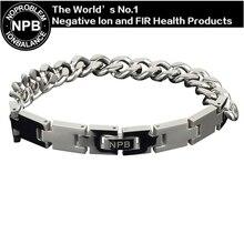 P049 l (24 cm) noproblem ion balance de moda germanio terapia magnética de la salud hombres encanto poder choker joyería de los hombres pulsera de cadena