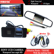 FUWAYDA Wireless Car Rear View Camera for VW Phaeton Scriocco Golf 4 5 6 MK4 MK5 EOS Lupo Beetle+4.3Inch rearview Mirror Monitor
