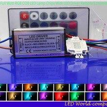 1 комплект полный ватт RGB интегрированный чип 10 Вт 20 Вт 30 Вт 50 Вт 100 Вт RGB светодиодный светильник+ светодиодный драйвер+ 24Key пульт дистанционного управления для прожектор светильник Точечный светильник