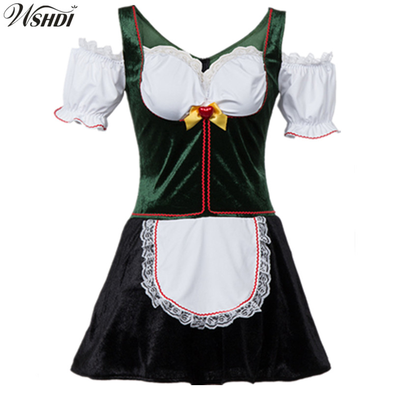 Fashion Women's Oktoberfest Costume Fancy Dress German Beer Girl Maid Costume Plus Size Halloween Costume M-4XL