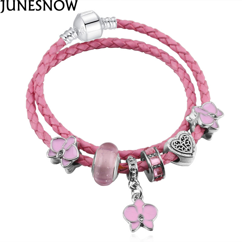 JUNESNOW DIY Luxury Brand Pink Crystal Beads Charm Leather Bracelet For Women Fit Furopean Pandora Bracelet Jewelry