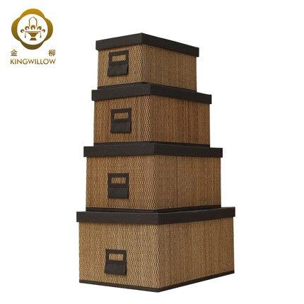 Main panier de rangement En Bambou avec couvercle de la boîte, boîte ...