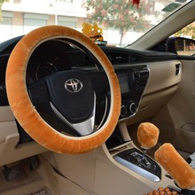 3 Pieces Set Car Steering Wheel Gear Cover Thick Plush Warm For Winter Environmentally Friendly & Odorless