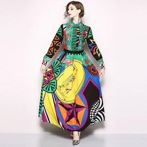 Image 4 - Borisovich מסלול מקסי שמלה חדש 2018 סתיו אופנה הדפסת בציר תורו למטה צווארון אלגנטי Slim נשים המפלגה ארוכה שמלות m659