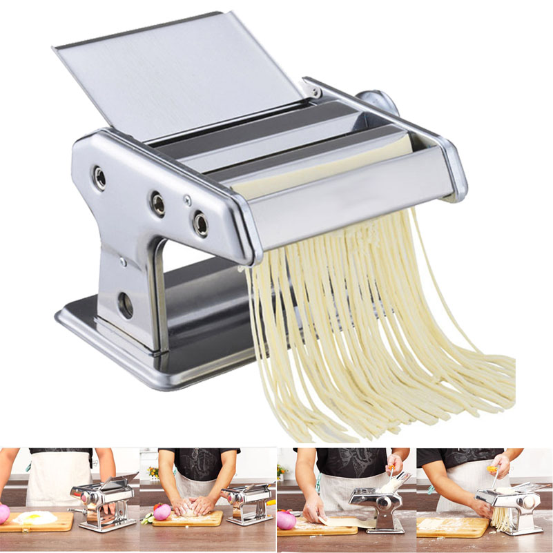 Stainless Steel 2 Blades Pasta Making Machine Manual Noodle Maker Hand Operated Spaghetti Pasta Cutter Noodle Hanger