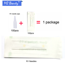 100pcs Tattoo Tips 1RL Needles With 100pcs Round 1 Needle Caps Disposable Use For Permanent Make Up Machine