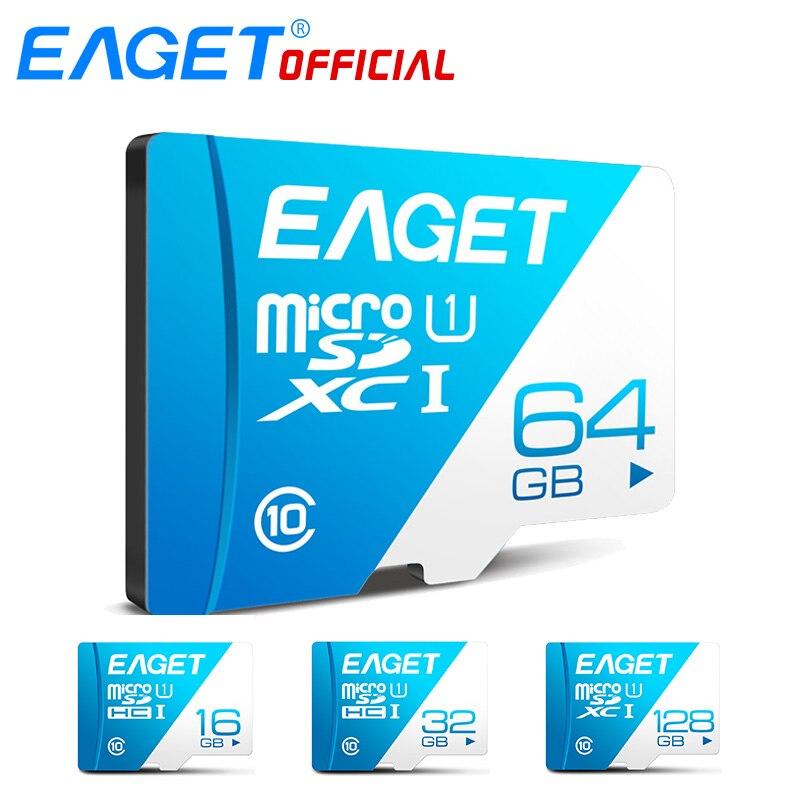 EAGET T1 Micro SD Carte Class10 128 gb Carte Mémoire 32 gb 16 gb Micro SDXC TF Carte 64 gb haute Vitesse UHS-I Flash pour Téléphones Tablet