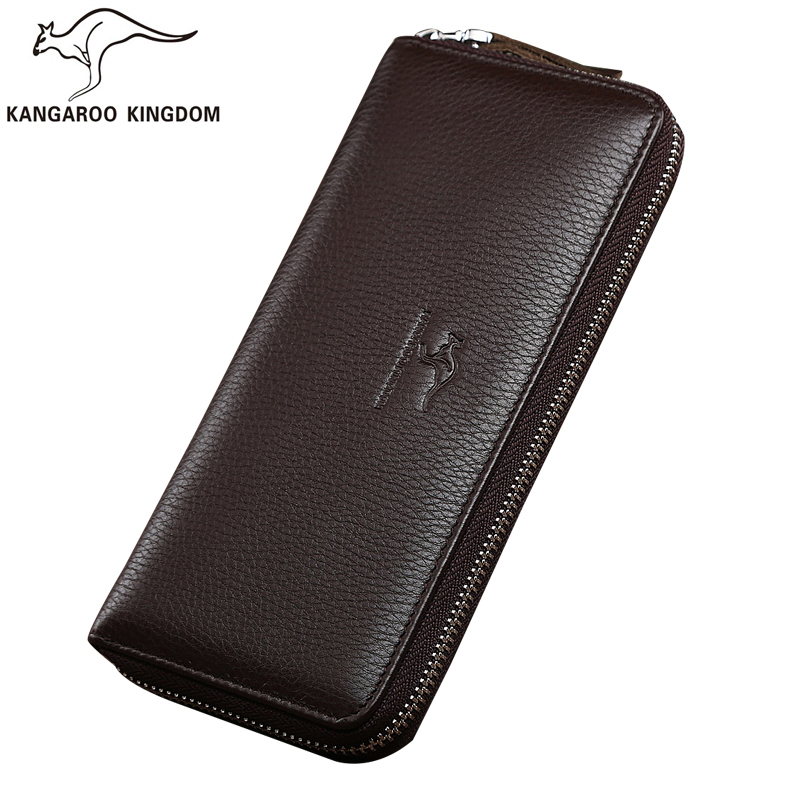 Kangaroo Kingdom Famous Brand Men Wallets Genuine Leather Wallet Long Male Clutch Purse