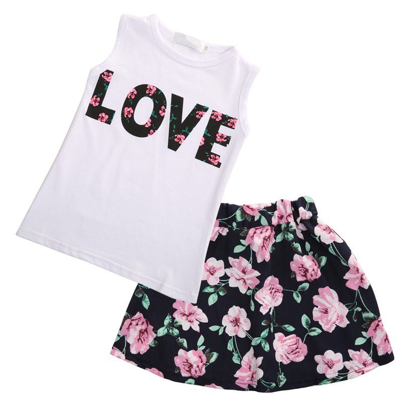 2pcs Toddler Kids Baby Girls Clothes Outfit Sets Short Sleeve LOVE T-shirt Tops Floral Print Skirt Dress Clothes Outfit Set 2-7T