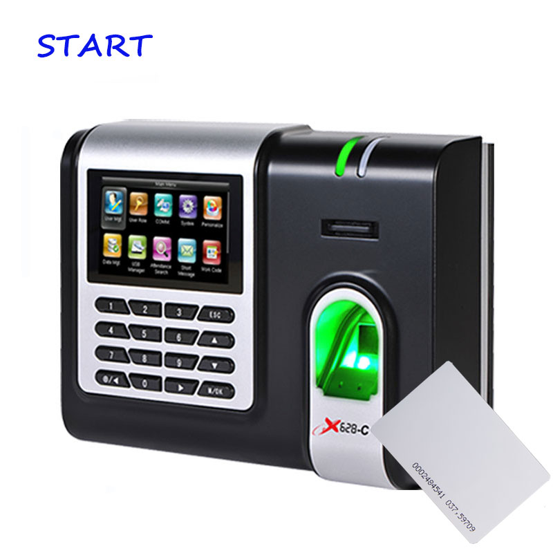 ZK X628-C Fingerprint Time Attendance 3 Inch Color Screen TCP/IP Biometric Fingerprint Time Clock With 125KHZ RFID Card Reader