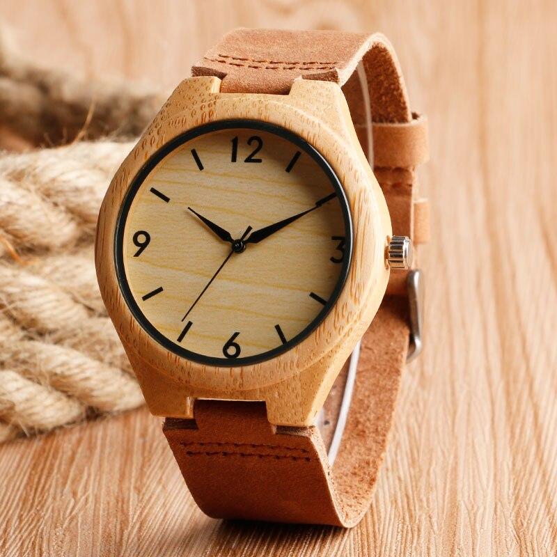 High Quality Men Women Quartz Wristwatch Handmade Minimalist Modern Genuine Leather Bangle Male Watches Bamboo Gifts