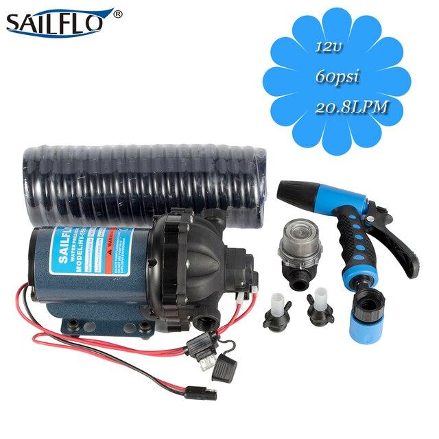 US $68 0 |12V dc water pump 60psi 4 1bar 5 5GPM 20 8LPM sailflo wash down  pump kit for housegarden/RV/desk/boatmarine/car wash-in Pumps from Home