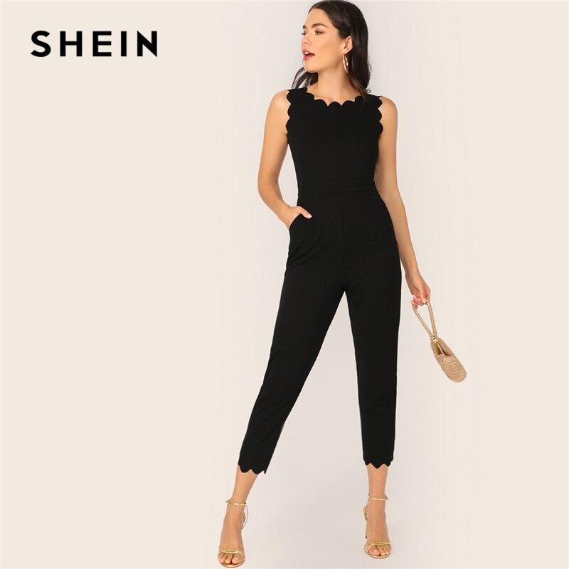 SHEIN Scallop Trim Pocket Side Tapered Jumpsuit Black Sleeveless Elegant 2019 Women Spring Autumn High Waist Jumpsuits