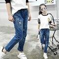 4 5 6 7 8 9 10 11 12 13 Años Pantalones Vaqueros Rasgados para Las Niñas Adolescentes 2017 de Primavera Niños Jeans Denim Pant Girls Ropa Niños Jeans