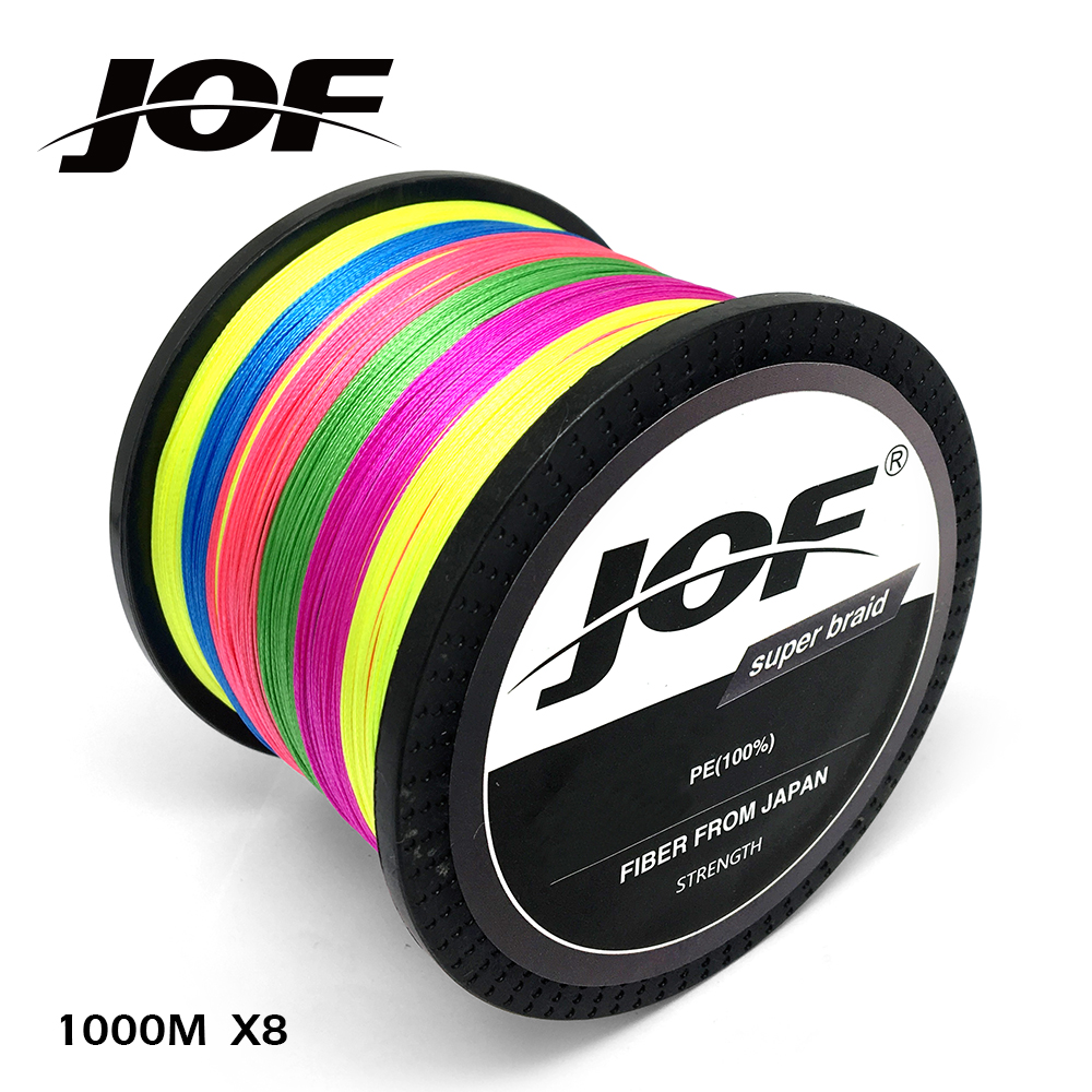 1000M JOF Brand 8 Strands Super Strong Japan Multifilament 100%PE Braided Fishing Line 22-78LB 1000m strong japan multifilament pe braided fishing line rainbow super fishing rope for sea fishing fishing braid 8 strands