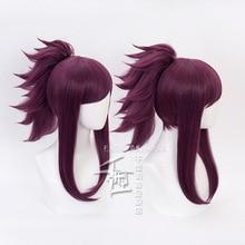 Akali Cosplay wig Game LOL KDA K/DA Character Wigs Costume Deep purple with ponytail WIG CAP
