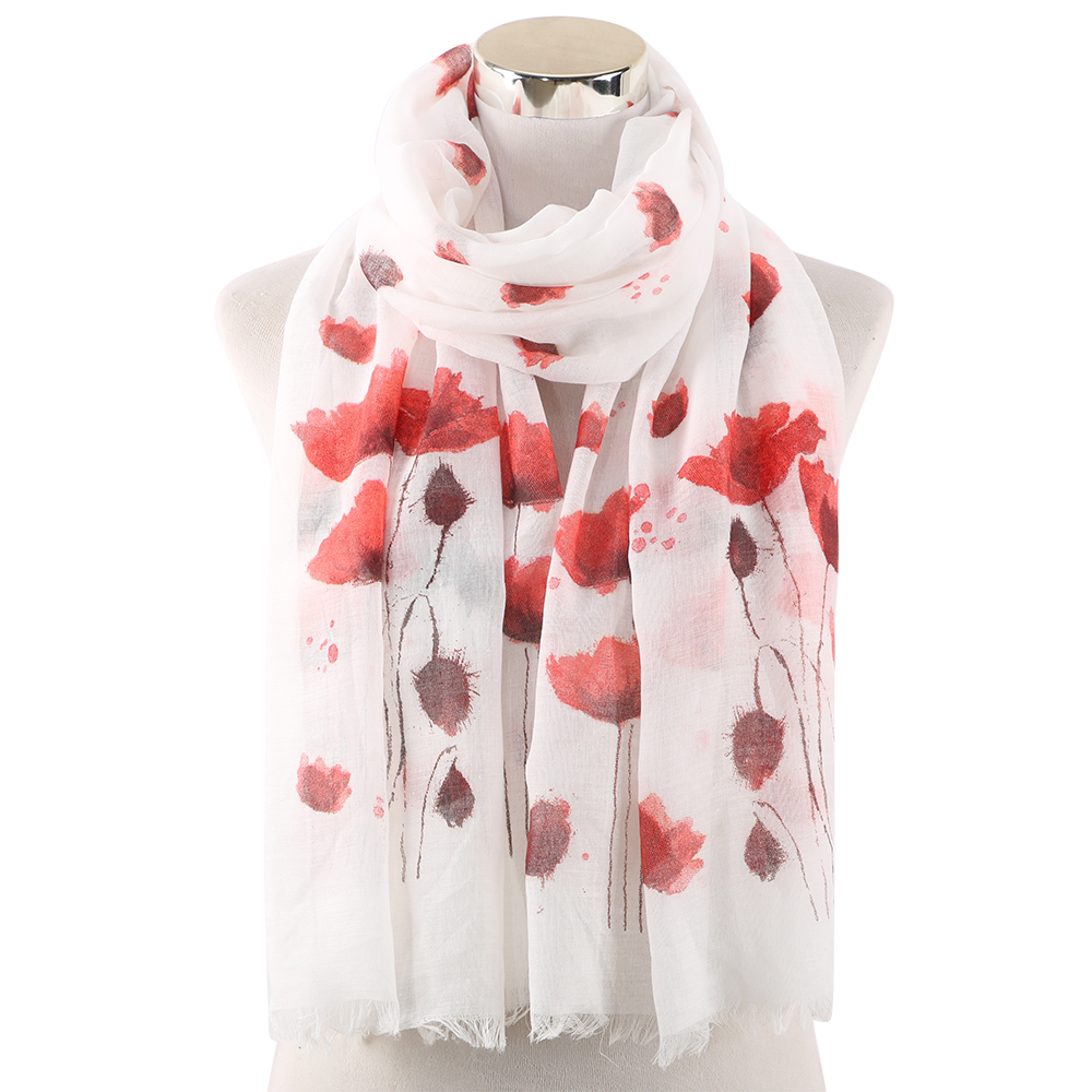 Grey and Pink Floral Print Scarves Shawl