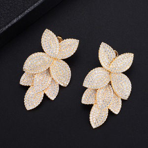 Image 4 - GODKI  Celebrity Favorite Luxury Leaf Leaves Flower Collection Full Micro Cubic Zirconia Paved Wedding Bridal Earring For Women